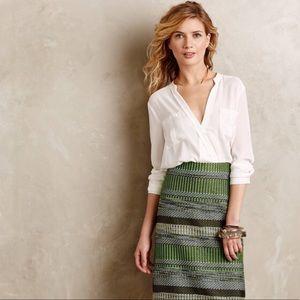 Anthropologie Maeve Eva Wrap Blouse Ivory Size 8